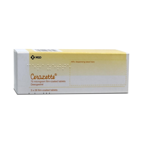 A yellow box of Cerazette containing 3 x 28 tablets manufactured by MSD