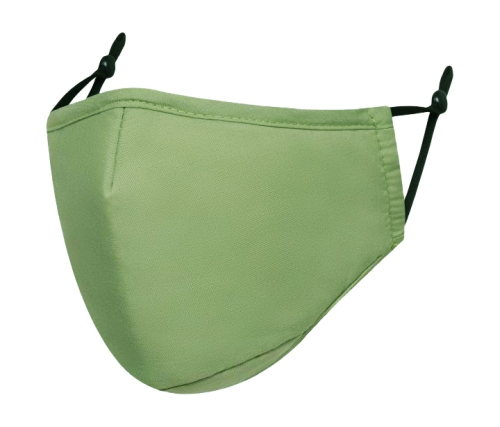 An olive green reusable face mask without a valve
