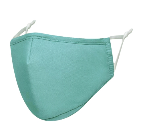 A mint green reusable face mask without a valve