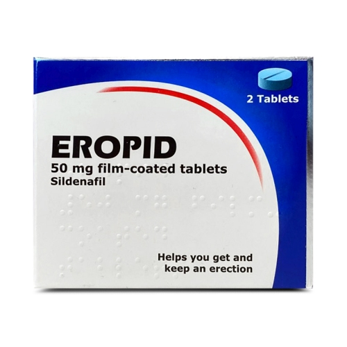 A box containing 2 tablets of Eropid (sildenafil) 50mg manufactured by Somex Pharma