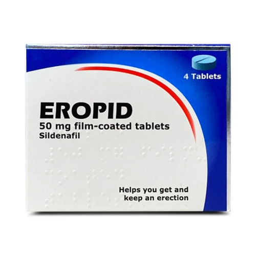 A box containing 4 tablets of Eropid (sildenafil) 50mg manufactured by Somex Pharma