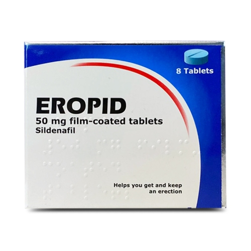 A box containing 8 tablets of Eropid (sildenafil) 50mg manufactured by Somex Pharma