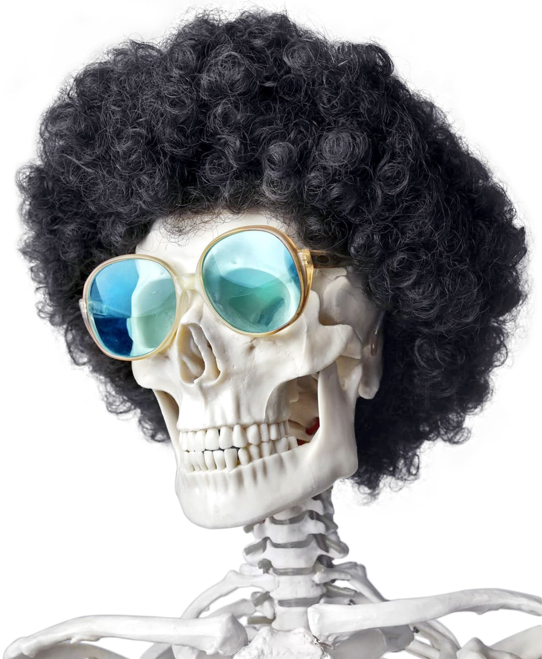 Skeleton with afro and sunglasses
