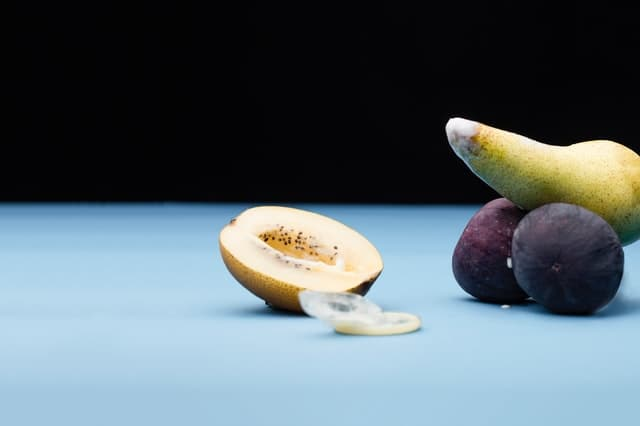 Picture of a pear and figs to resemble sexual intercourse